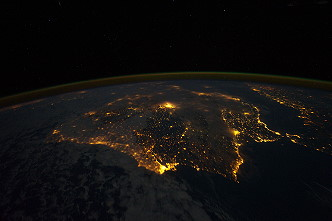Iberian peninsula by night