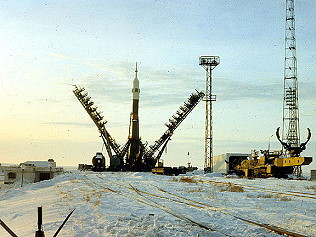 Soyuz TM-16 on launch pad