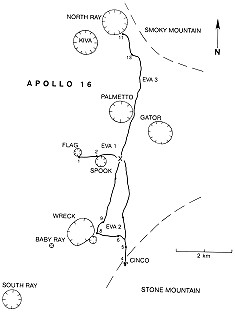 Apollo 16 Wegekarte