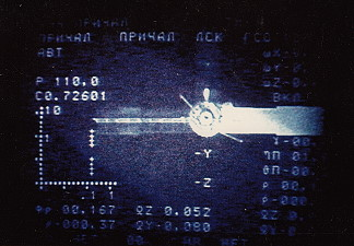 View from Soyuz TM-4 before docking